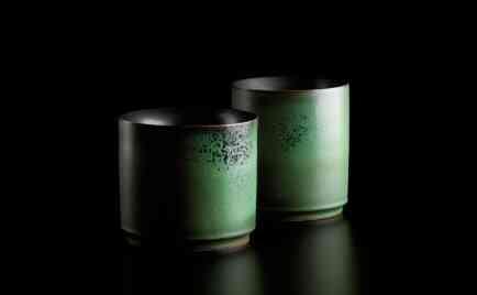 Miniaturen, außen kobaltgrün, innen schwarz glasiert D 17 cm, H 16 cm D 16 cm, H 18 cm