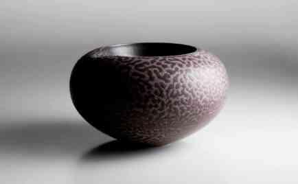Gefäß, außen Bariumglasur, innen schwarz glasiert, D 24 cm, H 15,5 cm