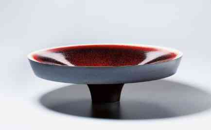 ​Big bowl, exterior black, interior ox blood red, glaze D 71 cm, H 22 cm​