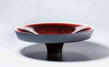 Big bowl, exterior black, interior ox blood red, glaze D 71 cm, H 22 cm
