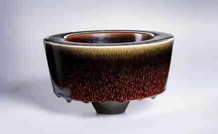 Mushroom form, exterior ox blood red over Temmoku, interior Temmoku, D 20 cm, H 15 cm